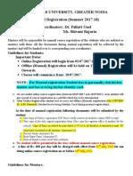 SCSE Manual Registration Guidelines for Odd Semester