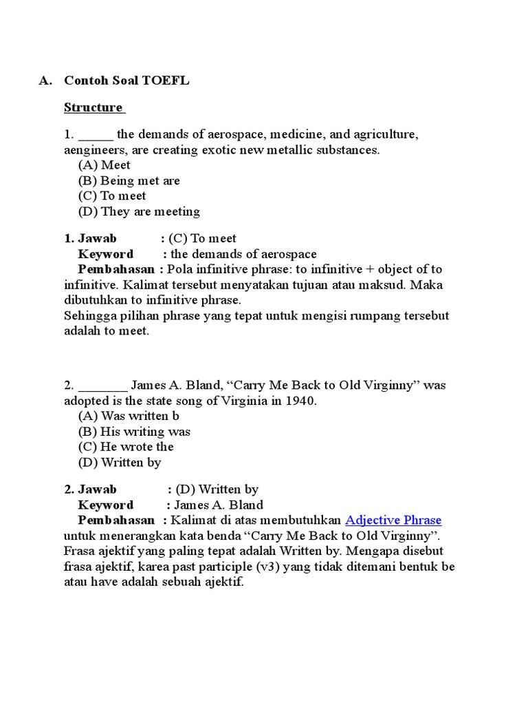 Contoh Soal TOEFL.docx | Onomastics | Languages