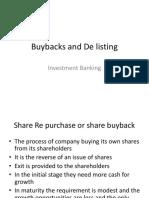 Buybacks and de Listing