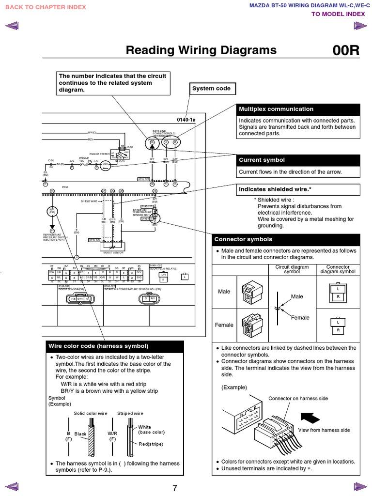 mazda bt50 wl c & we c wiring diagram f198!30!05l7 | electrical ...  scribd