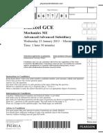 January 2013 QP - M1 Edexcel