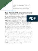 """""""Presento El Programa 'SUYO', Salud Urgente Y Oportuna""""- Carlos Holmes Trujillo"""