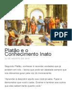 Platão e o Conhecimento Inato