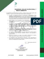 IGC-PT-SIG-001 Politica de Seguridad, Salud Ocupacional y Medio Ambiente