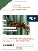 Sobre a Inconstitucionalidade Da Redução Da Maioridade Penal