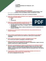Questionário de REVISÃO P2 de Ergonomia e Segurança Do Trabalho