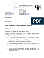 Ontario Civilian Police Commission Appoints Investigator - La Commission Civile de l'Ontario Sur La Police Nomme Un Enquêteur