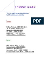 India's Toll Free Numbers