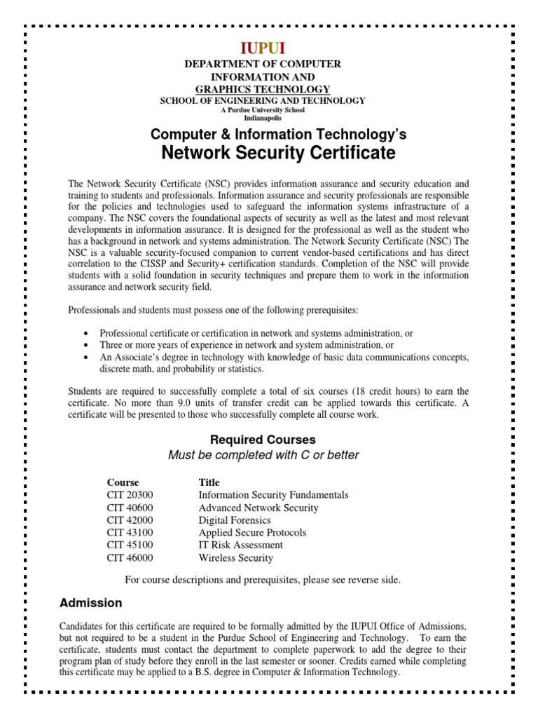 Cit Cert Networksecurity Plan Of Study Computer Forensics