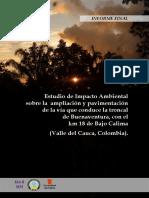 Estudio de Impacto Ambiental sobre la ampliación y pavimentación de la vía que conduce a la troncal de Buenaventura, con el kilómetro 18 de Bajo Calima (Valle del Cauca, Colombia).