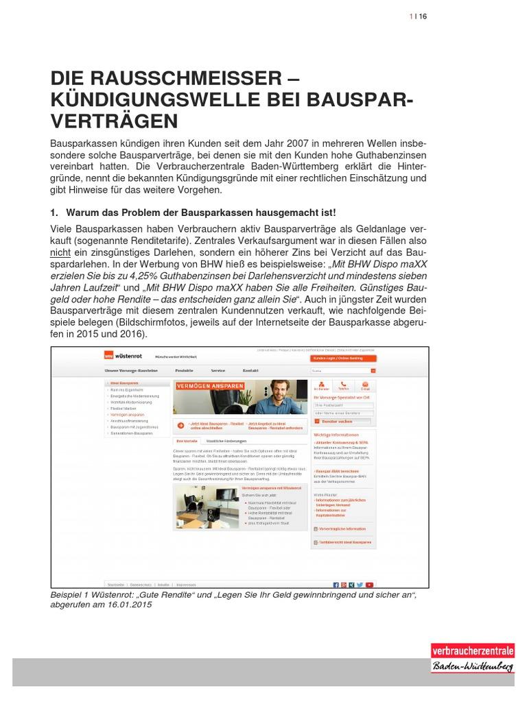 verbraucherzentrale kundigungwelle bei bausparvertragen - Kundigung Bausparvertrag Muster