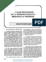 El Valor Psicológico de La Represión Política Mediante La Violencia - Martín-Baró