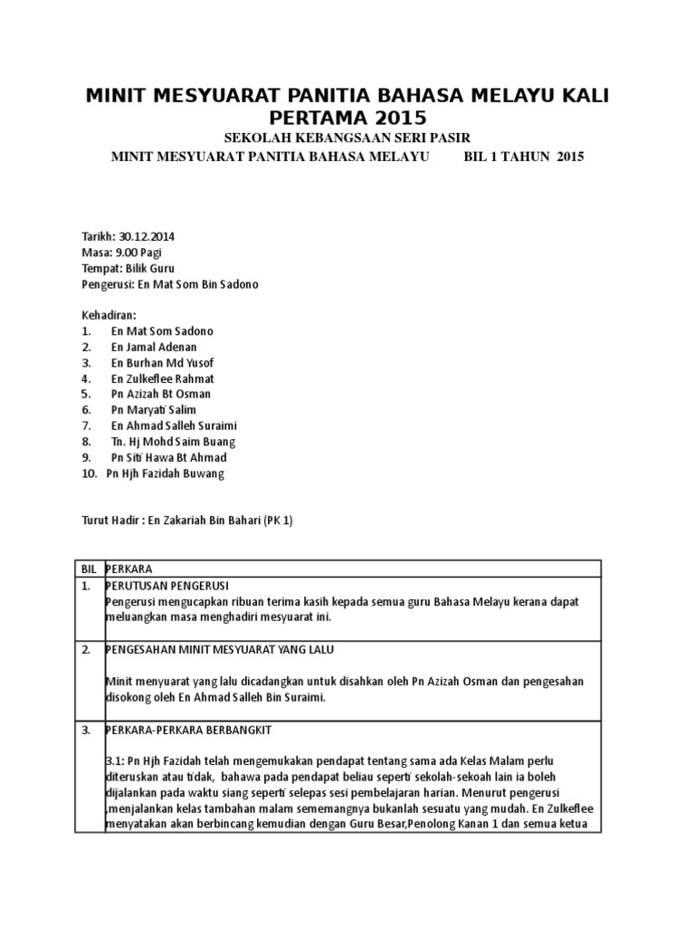 Minit Mesyuarat Panitia Bahasa Melayu Kali Pertama 2015 Doc