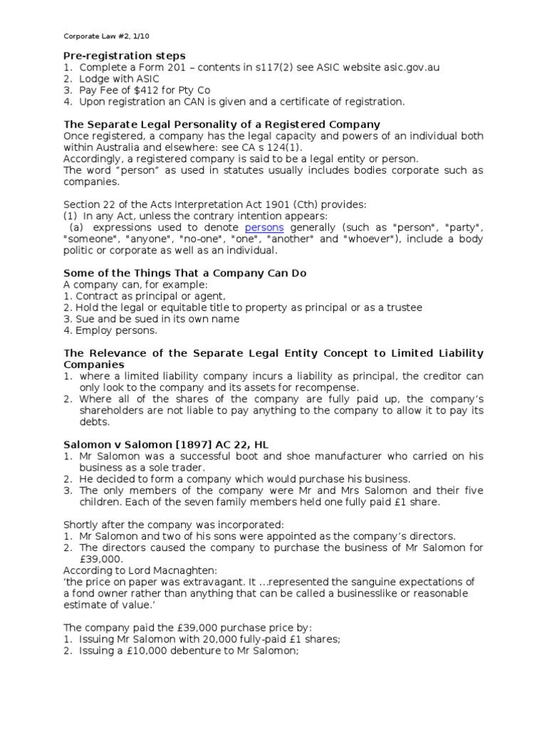 separate legal entity concept