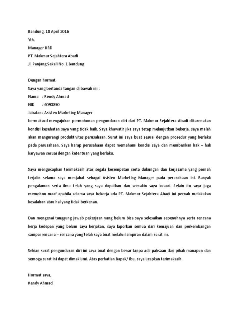Surat Risent Tulis Tangan