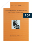 McNALLY, David. Aginst the Market Political Economy Market Socialism and the Marxist Critique-Verso