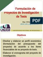 Taller Formulación Proyectos Investigación - UNAM 2017