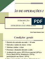 Aula 1 - Introdução e Estratégia de Gestão de Operações( 2010)