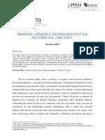 JOFFILY, Mariana. Memória, Gênero e Repressão Política No Cone Sul (1984-1991).