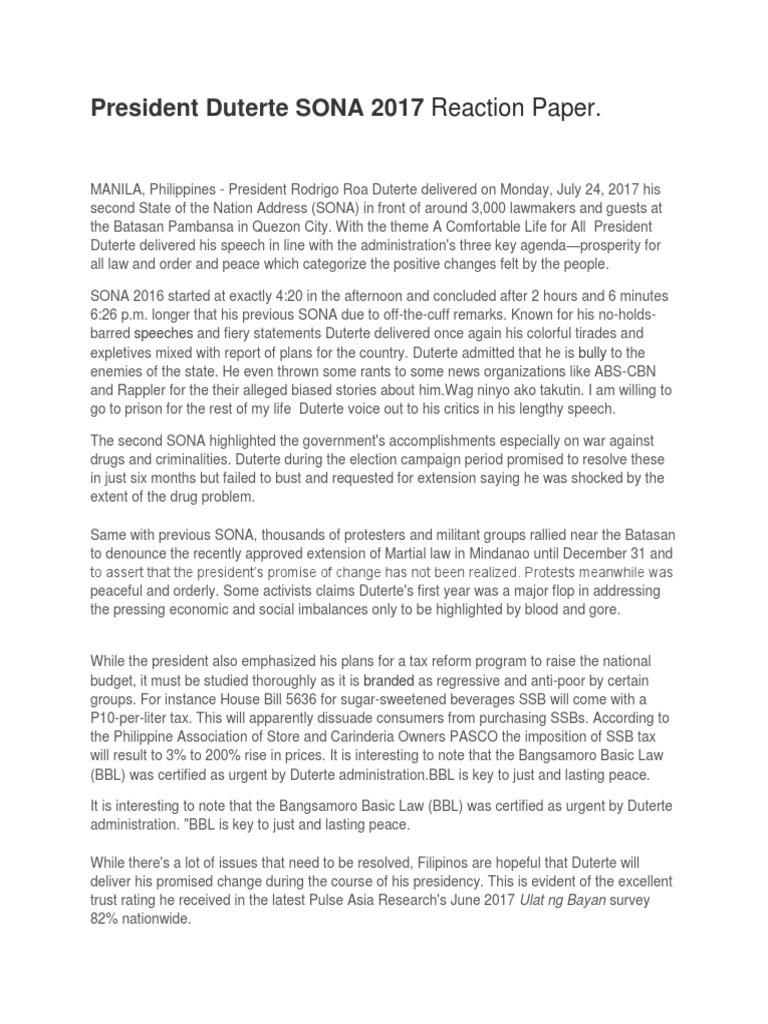 President Duterte SONA 2017 Reaction Paper   Rodrigo Duterte