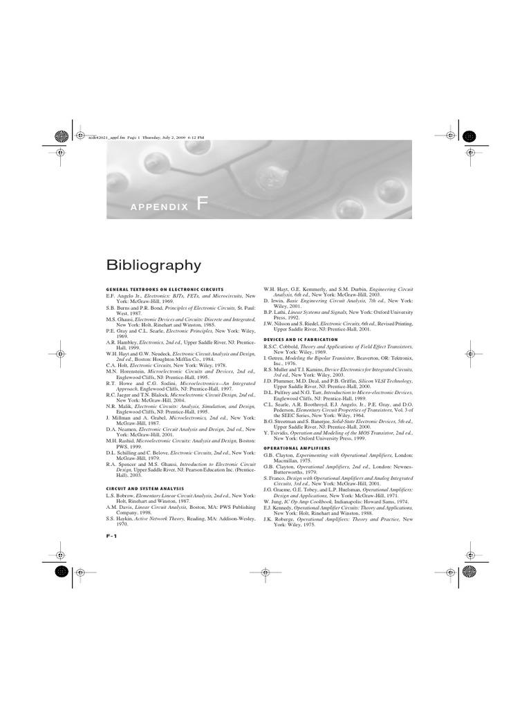 appendix f bibliography integrated circuit spiceElectronic Circuit Analysis And Design Hayt Neudeck Pdf #14
