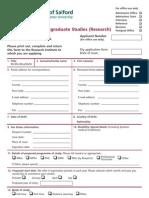 Postgraduate Research Application