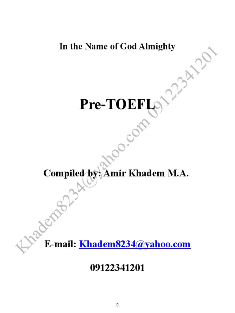 Pre-TOEFL   Subject (Grammar)   Verb