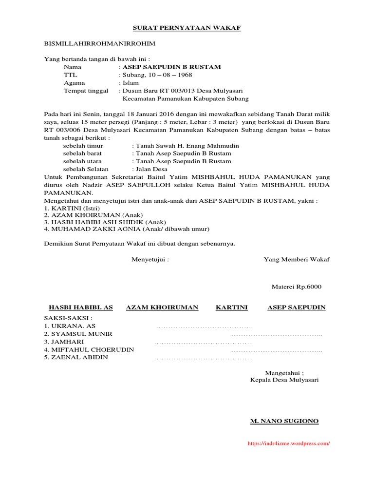 Contoh Surat Wakaf Mushola