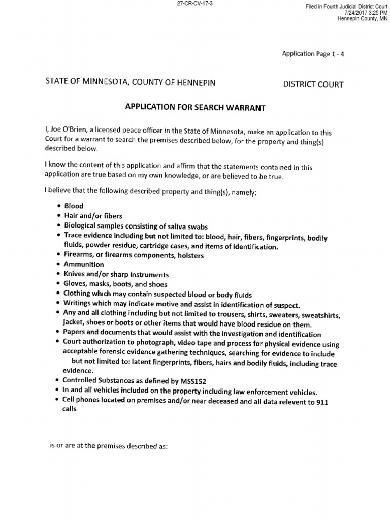 Search Warrant - Washburn | Search Warrant | Fingerprint