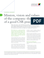 I07 Mission, Vision and Values of the Company- The Centre of a Good CSR Praxis