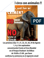 Cartel Convocatoria concentración contra Circo Mundial Bilbao