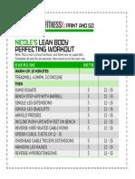 Nicole Lean Body Workout chart