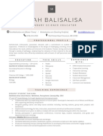 educator resume- sarah balisalisa