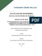 SISTEMA INFORMÁTICO PARA EL PROCESO DE GESTIÓN DE INCIDENCIAS EN EL ÁREA DE TECNOLOGÍA DE LA INFORMACION Y ESTADÍSTICA DE LA MUNICIPALIDAD DISTRITALDE SAN JUAN DE MIRAFLORES - LIMA