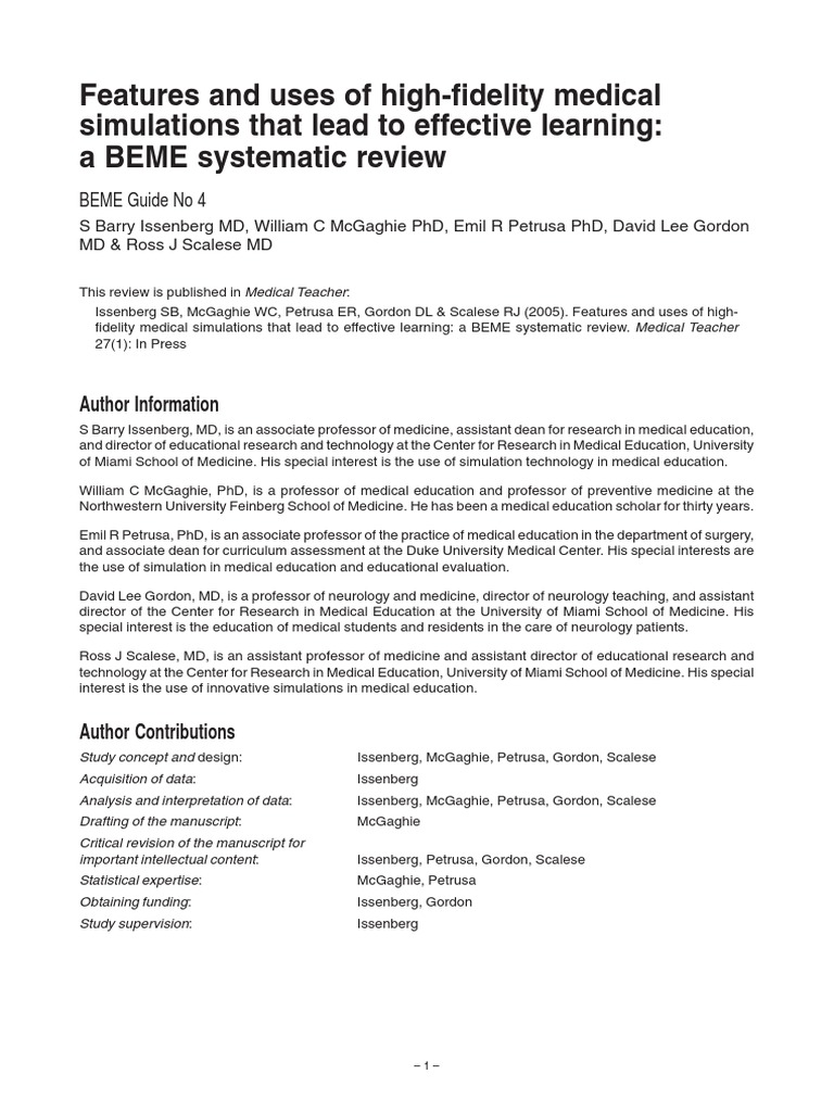 Beme Guide No  04 | Simulation | Medical Education