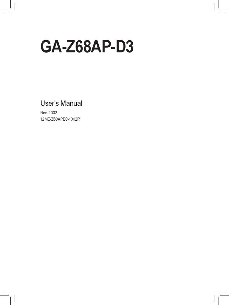 Mb Manual Ga-z68ap-d3 e   Hdmi   Usb
