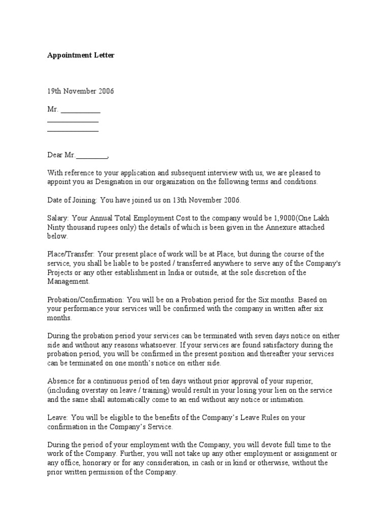 Appointment Letter Working Time – Appointment Letter