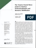 McCarthy Zald Professionalization & Resource Mobalization