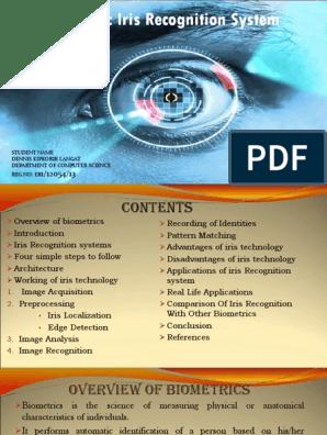 Biometric Iris Recognition System: Faculty Advisor Mr  Fredreick