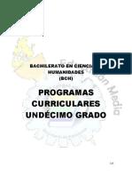 Programas Curriculares, Undecimo Grado, Honduras 2015, Bachillerato en Humanidades