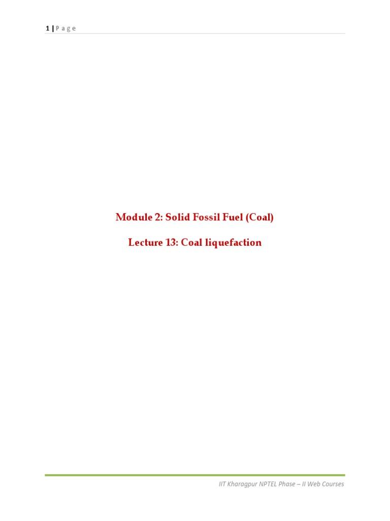 Module 2 Solid Fossil Fuel (Coal) pdf | Coal | Petroleum
