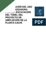 Optimizacion Uso Rozadora Excavacion Tunel Proyecto Ampliacion Planta Cachi