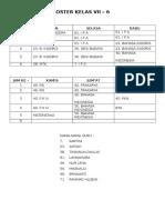 Roster Kelas Vii
