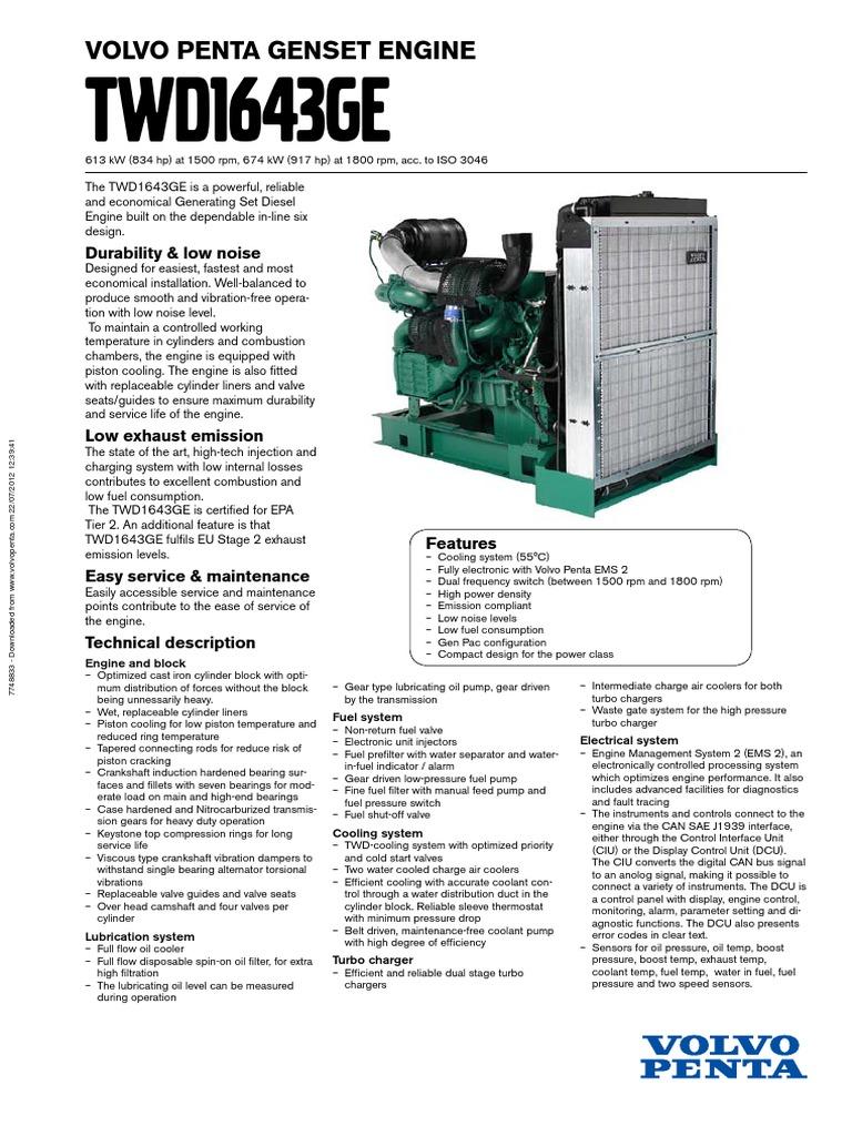 Volvo Twd1643ge   Cylinder (Engine)   Turbocharger
