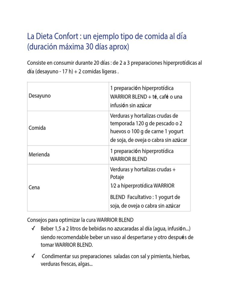 ejemplos de dieta hipotoxica