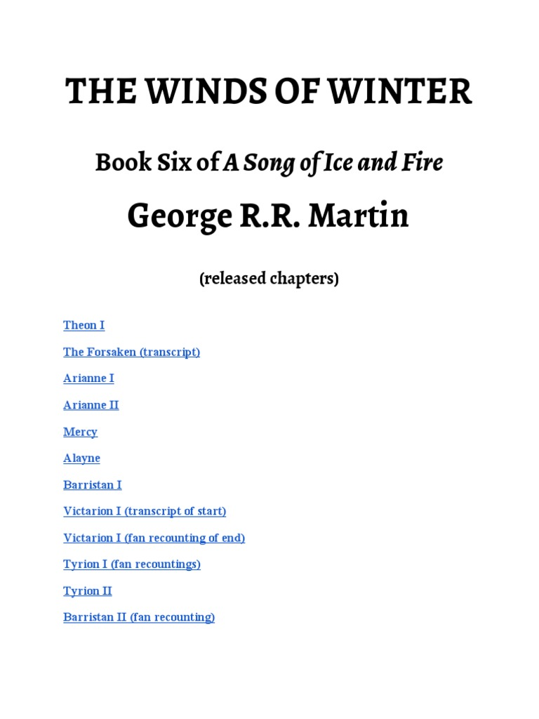 Winds of winter chapter theon pdf