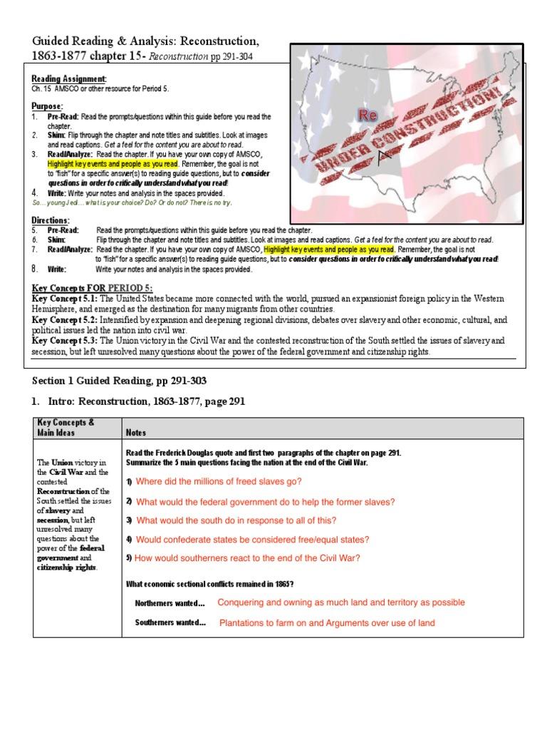 guided reading analysis reconstruction 1863 1877 andrew johnson rh scribd com Civil War Battles Civil War Flags
