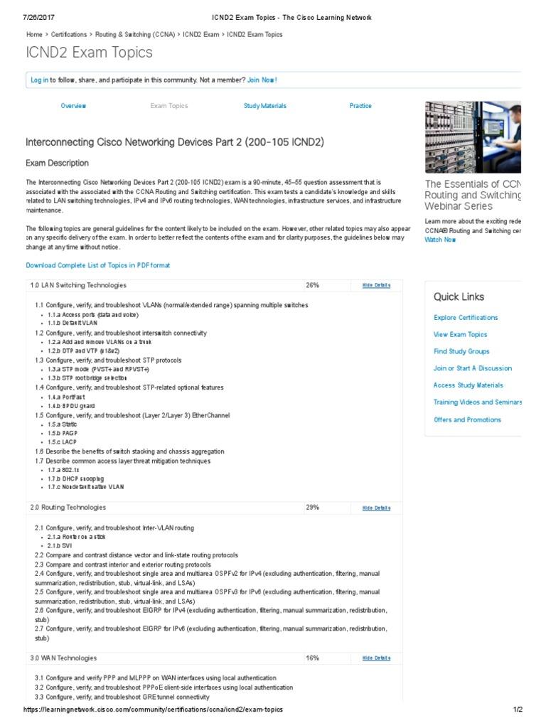 Icnd2 Exam Topics The Cisco Learning Network Cisco