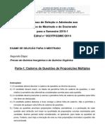 ME Caderno de Questões QI.qo Parte001 Edital.002.PPGQMC.2014 Ingresso 2015.11