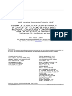 18R-97 Estimate Classification System as Applied to Engineering Proc Const in Process Industries SPANISH